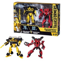 Transformers Buzzworthy Bumblebee Studio Series Deluxe Class 79BB High Octane Bumblebee vs. 02BB Decepticon Stinger