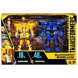 Transformers Buzzworthy Bumblebee Studio Series Deluxe Class 18BB Bumblebee vs. 46BB Dropkick